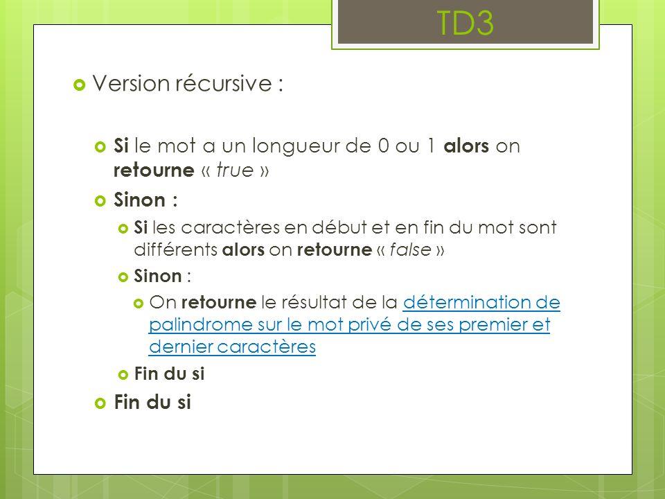 TD3 Version récursive : Si le mot a un longueur de 0 ou 1 alors on retourne « true » Sinon : Si les caractères en début et en fin du mot sont différents alors on retourne « false » Sinon : On retourne le résultat de la détermination de palindrome sur le mot privé de ses premier et dernier caractères Fin du si