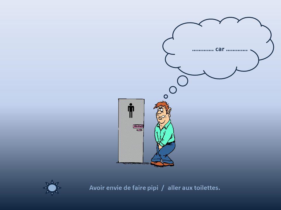Avoir envie de faire pipi / aller aux toilettes. …………. car ………….