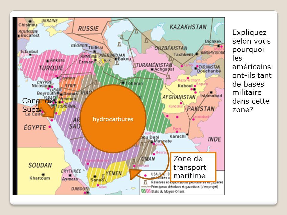 Expliquez selon vous pourquoi les américains ont-ils tant de bases militaire dans cette zone.