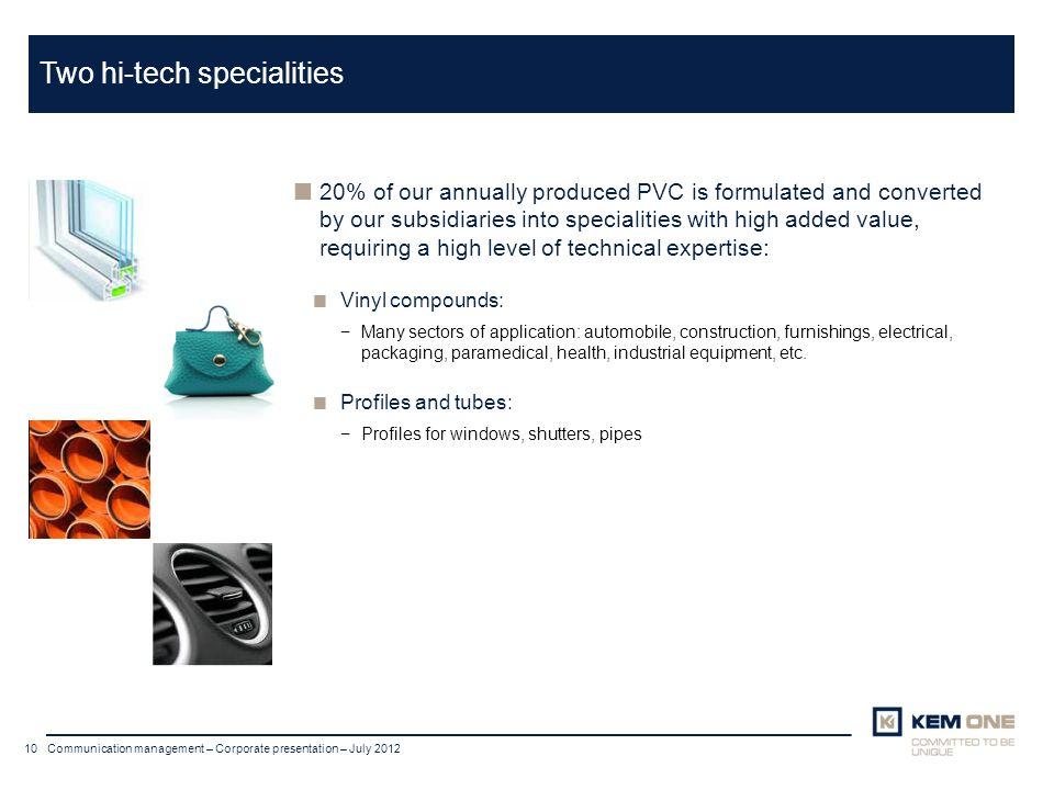 Cliquer pour insérer un titre Arial corps 20 Titre sur deux lignes 10 Communication management – Corporate presentation – July 2012 Two hi-tech specia