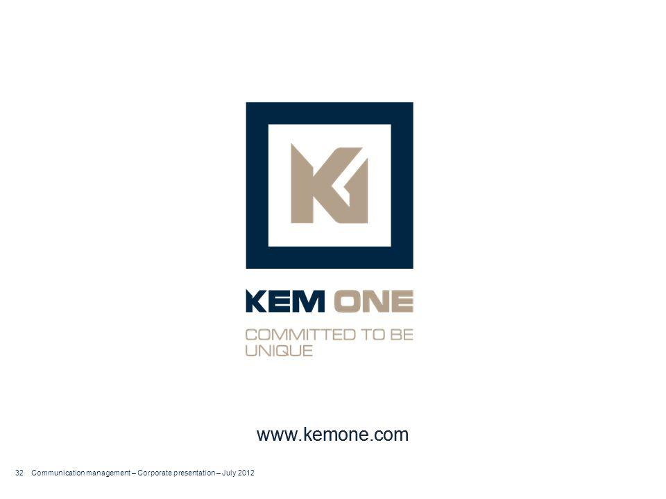 Cliquer pour insérer un titre Arial corps 20 Titre sur deux lignes www.kemone.com 32 Communication management – Corporate presentation – July 2012