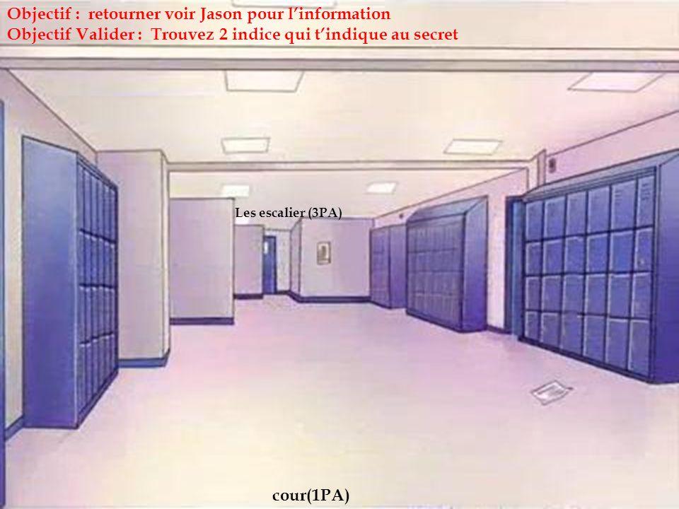 Les escalier (3PA) cour(1PA) Objectif : retourner voir Jason pour linformation Objectif Valider : Trouvez 2 indice qui tindique au secret