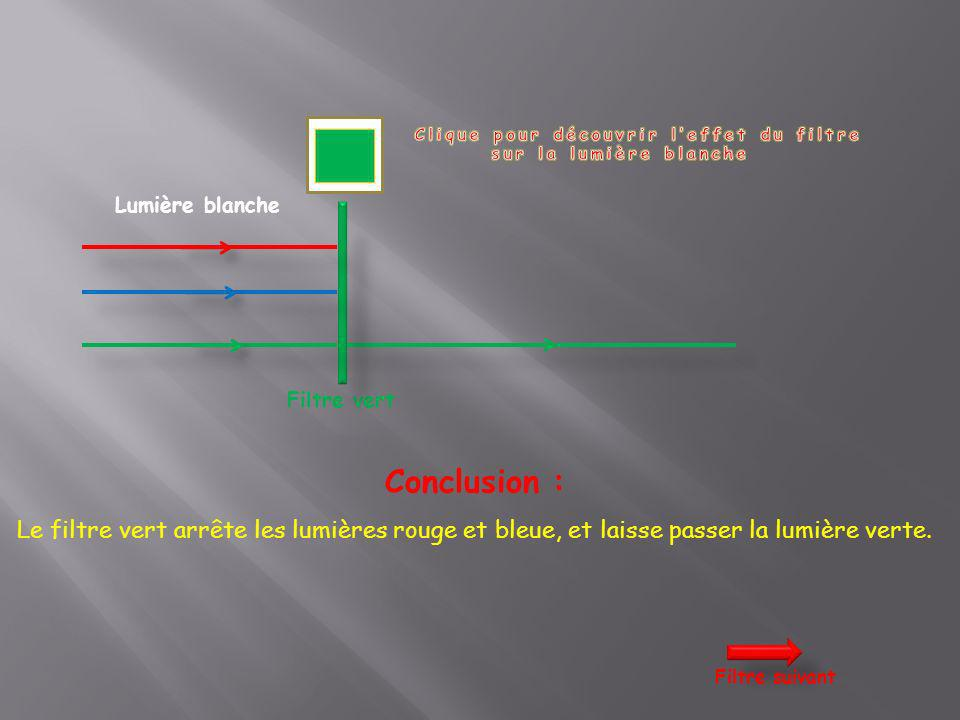 Lumière blanche Filtre jaune Conclusion : Le filtre jaune arrête la lumière bleue, et laisse passer les lumières rouge et verte: on obtient alors une lumière jaune (Rouge + Vert donne Jaune).