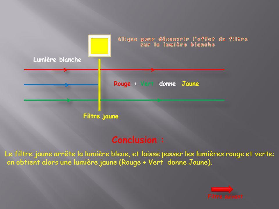 Lumière blanche Filtre jaune Conclusion : Le filtre jaune arrête la lumière bleue, et laisse passer les lumières rouge et verte: on obtient alors une
