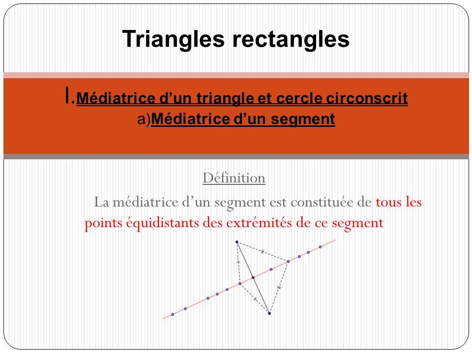 Propriété La médiatrice dun segment est une droite, cest la droite qui passe par le milieu du segment et qui lui est perpendiculaire
