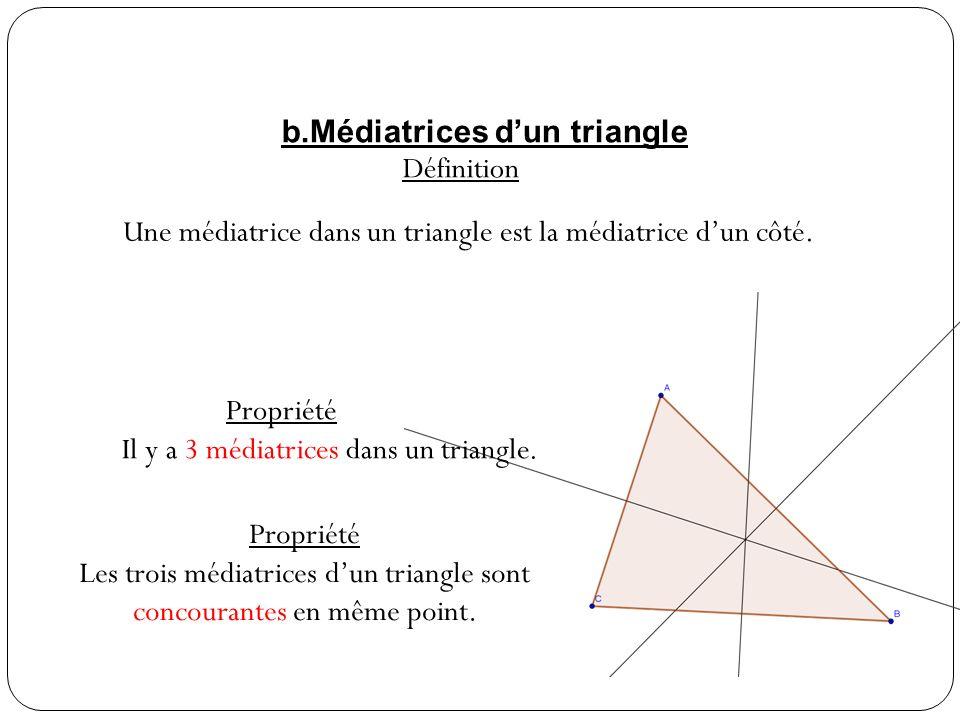 c.Cercle circonscrit Propriété Il existe un cercle passant par les trois sommets dun triangle, son centre est le point dintersection des 3 médiatrices Définition Le cercle passant par les trois sommets dun triangle est appelé cercle circonscrit au triangle.