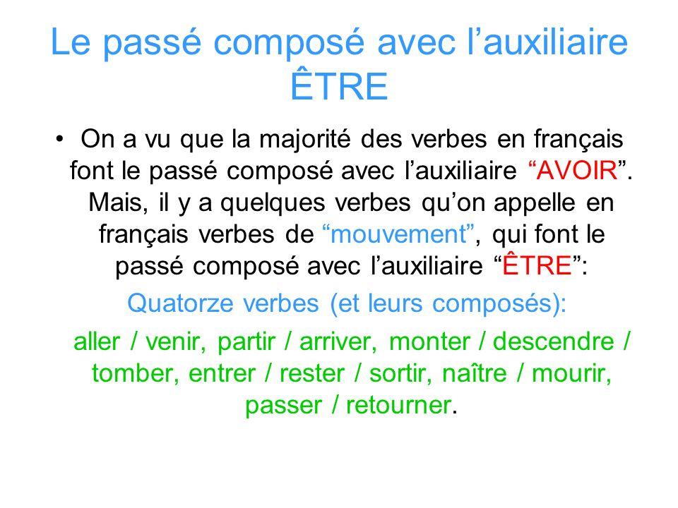 Le passé composé avec lauxiliaire ÊTRE On a vu que la majorité des verbes en français font le passé composé avec lauxiliaire AVOIR. Mais, il y a quelq