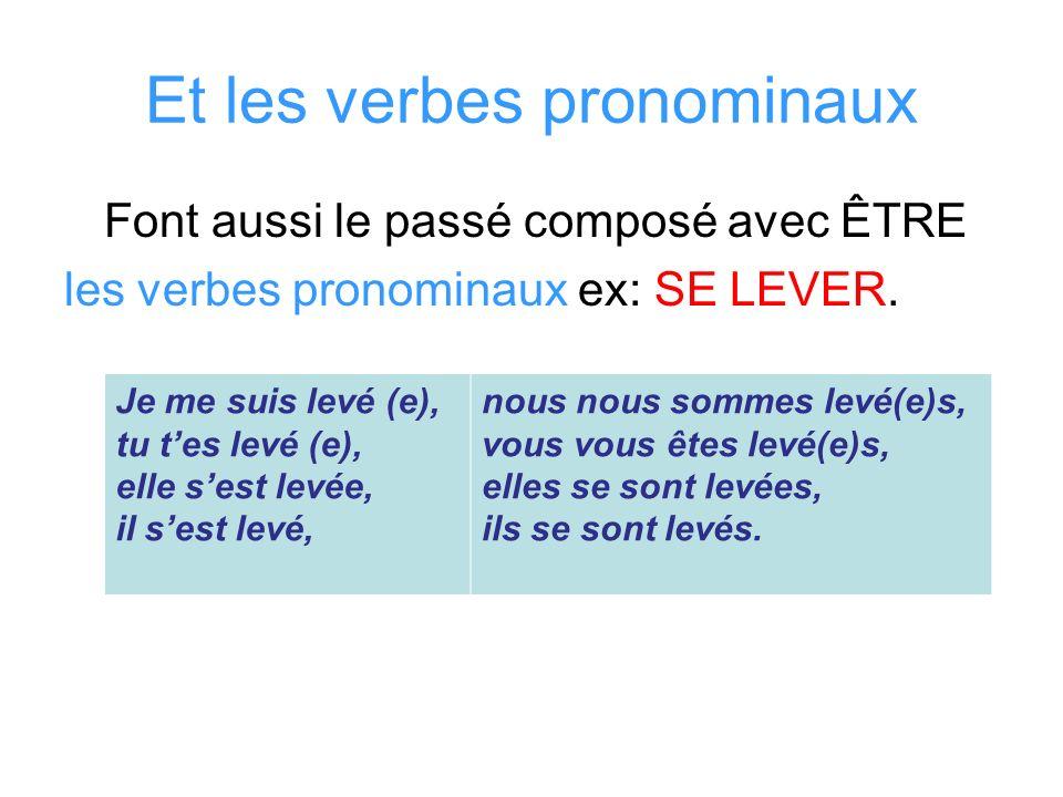 Et les verbes pronominaux Font aussi le passé composé avec ÊTRE les verbes pronominaux ex: SE LEVER. Je me suis levé (e), tu tes levé (e), elle sest l