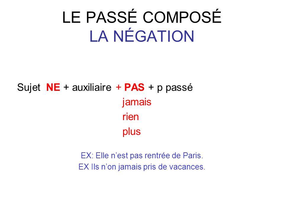 LE PASSÉ COMPOSÉ LA NÉGATION Sujet NE + auxiliaire + PAS + p passé jamais rien plus EX: Elle nest pas rentrée de Paris.