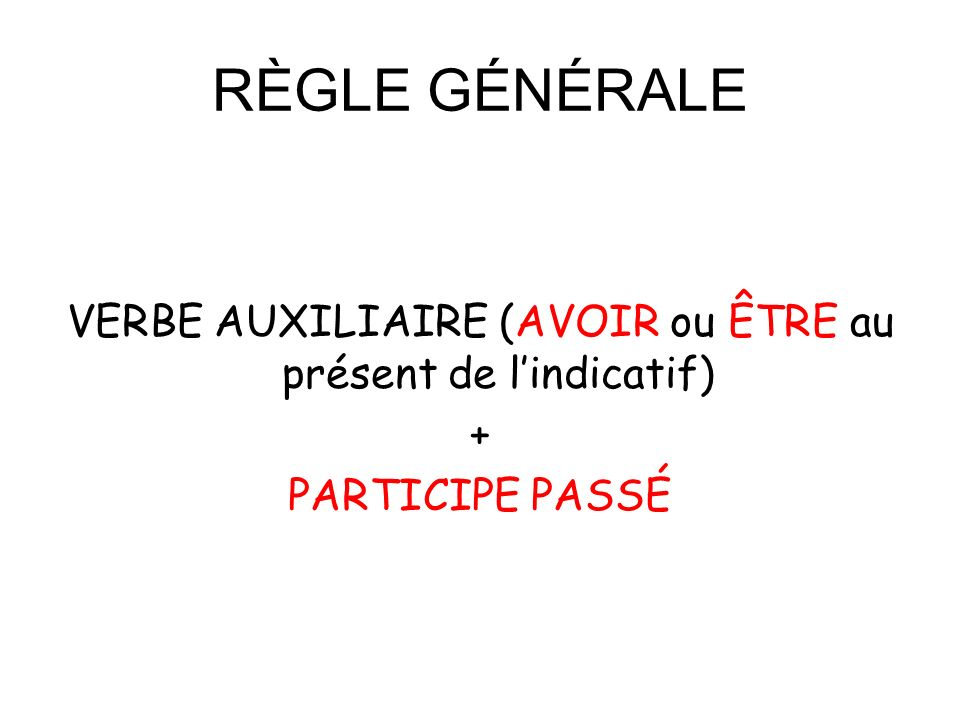 RÈGLE GÉNÉRALE VERBE AUXILIAIRE (AVOIR ou ÊTRE au présent de lindicatif) + PARTICIPE PASSÉ