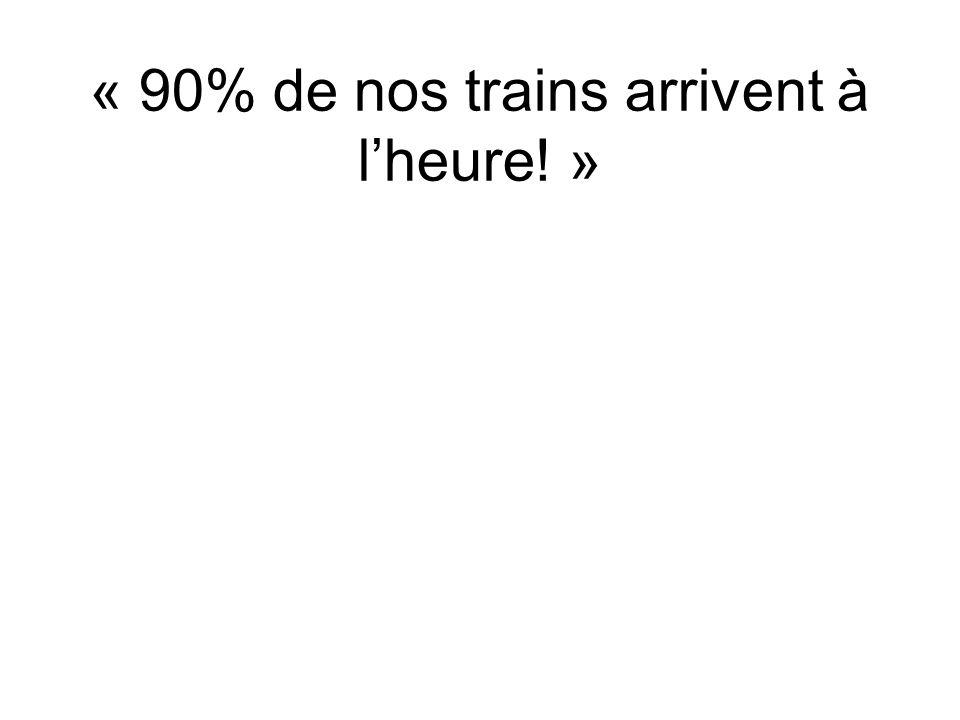 « 90% de nos trains arrivent à lheure! »