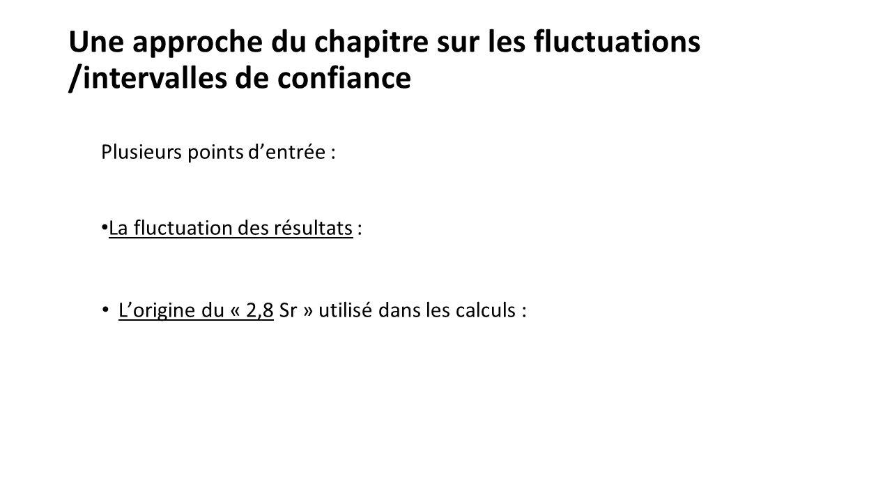 Une approche du chapitre sur les fluctuations /intervalles de confiance Plusieurs points dentrée : La fluctuation des résultats : Lorigine du « 2,8 Sr