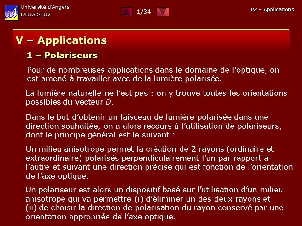 Université dAngers DEUG STU2 P2 – Applications V – Applications Pour de nombreuses applications dans le domaine de loptique, on est amené à travailler