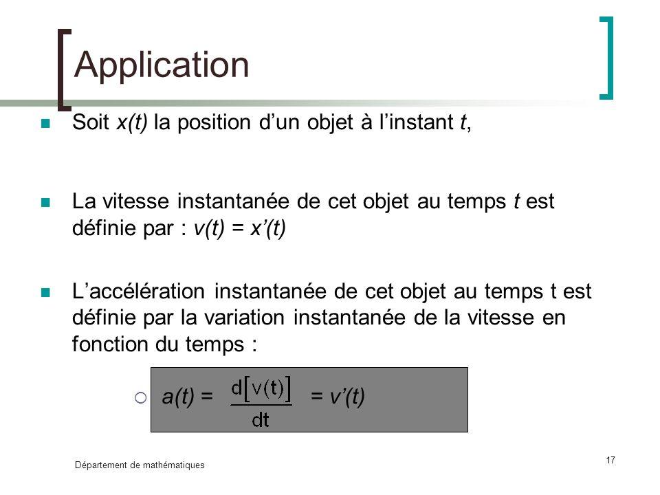 Département de mathématiques 17 Application Soit x(t) la position dun objet à linstant t, La vitesse instantanée de cet objet au temps t est définie p