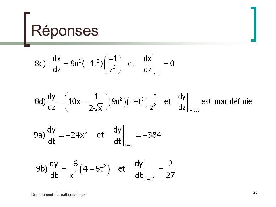 Département de mathématiques 20 Réponses