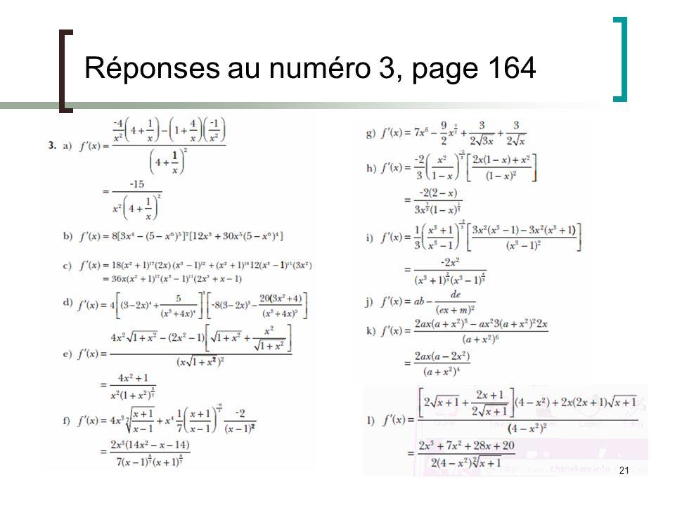 21 Réponses au numéro 3, page 164
