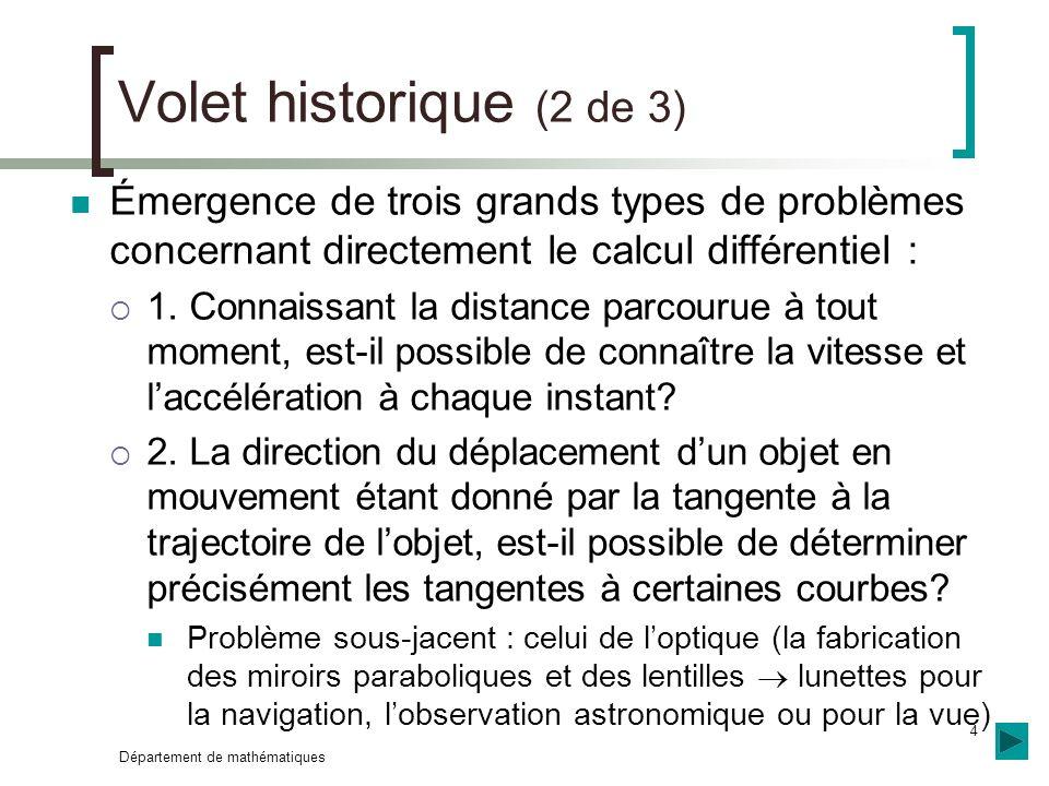 Département de mathématiques 4 Volet historique (2 de 3) Émergence de trois grands types de problèmes concernant directement le calcul différentiel :