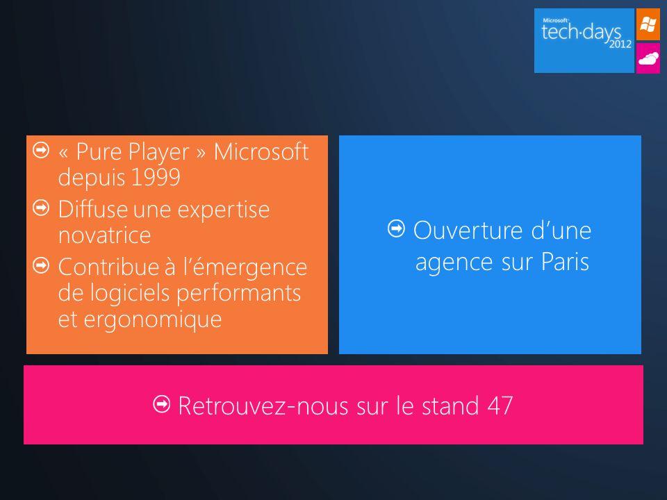 « Pure Player » Microsoft depuis 1999 Diffuse une expertise novatrice Contribue à lémergence de logiciels performants et ergonomique Ouverture dune agence sur Paris Retrouvez-nous sur le stand 47