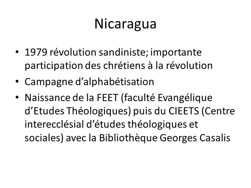 Nicaragua 1979 révolution sandiniste; importante participation des chrétiens à la révolution Campagne dalphabétisation Naissance de la FEET (faculté E