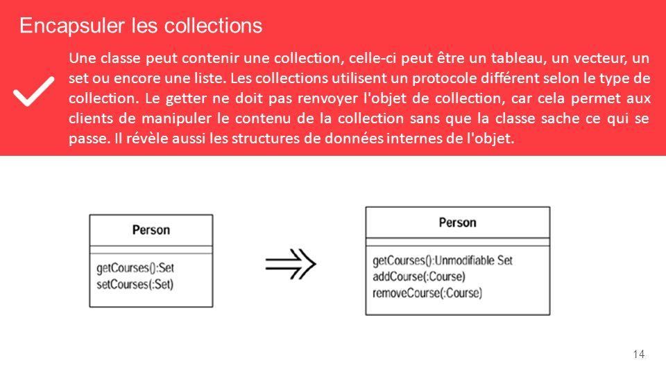 14 Encapsuler les collections Une classe peut contenir une collection, celle-ci peut être un tableau, un vecteur, un set ou encore une liste.
