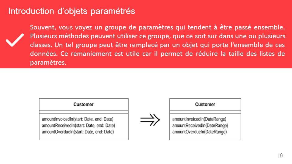 18 Introduction dobjets paramétrés Souvent, vous voyez un groupe de paramètres qui tendent à être passé ensemble.