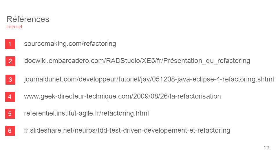 1 sourcemaking.com/refactoring 2 docwiki.embarcadero.com/RADStudio/XE5/fr/Présentation_du_refactoring 3 journaldunet.com/developpeur/tutoriel/jav/051208-java-eclipse-4-refactoring.shtml 4 www.geek-directeur-technique.com/2009/08/26/la-refactorisation 5 referentiel.institut-agile.fr/refactoring.html 6 fr.slideshare.net/neuros/tdd-test-driven-developement-et-refactoring Références internet 23
