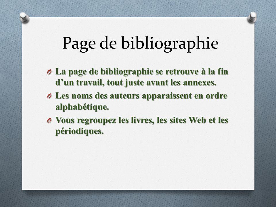 Page de bibliographie O La page de bibliographie se retrouve à la fin dun travail, tout juste avant les annexes.