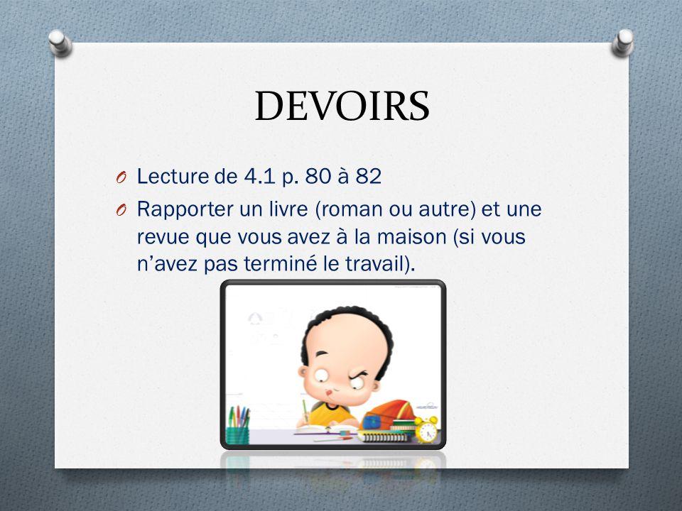 DEVOIRS O Lecture de 4.1 p.