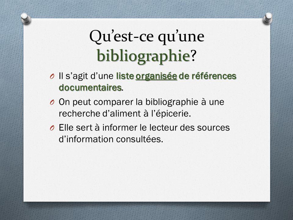 bibliographie Quest-ce quune bibliographie.