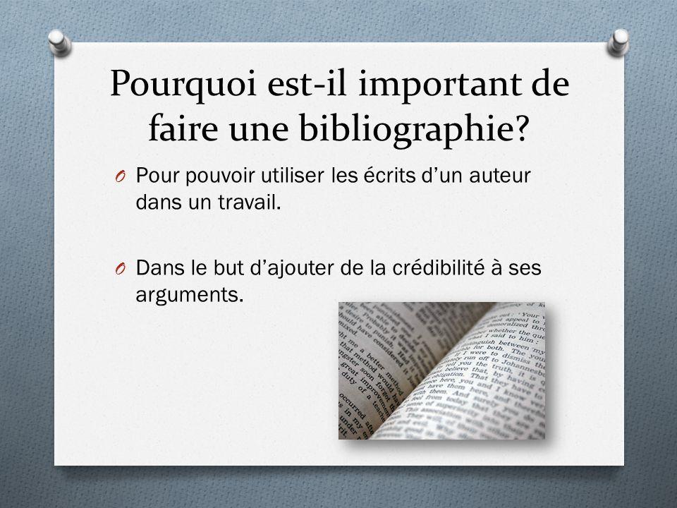 Pourquoi est-il important de faire une bibliographie.