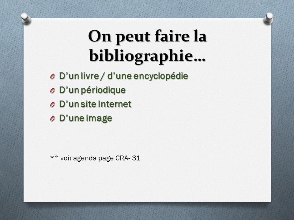 On peut faire la bibliographie… O Dun livre / dune encyclopédie O Dun périodique O Dun site Internet O Dune image ** voir agenda page CRA- 31