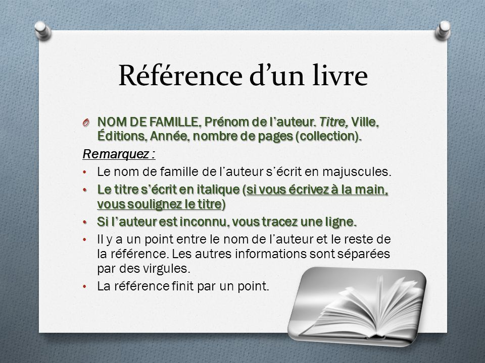 Référence dun livre O NOM DE FAMILLE, Prénom de lauteur.