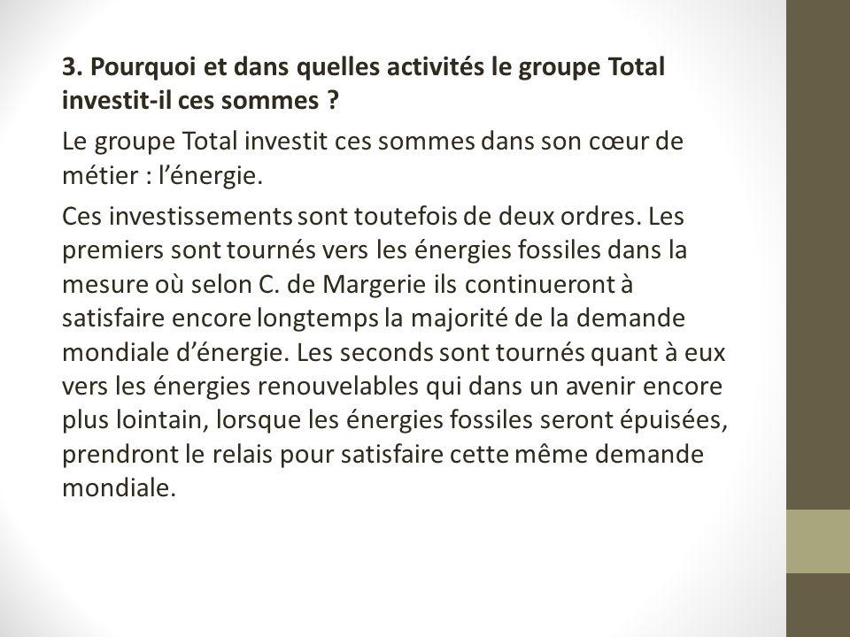 3. Pourquoi et dans quelles activités le groupe Total investit-il ces sommes ? Le groupe Total investit ces sommes dans son cœur de métier : lénergie.