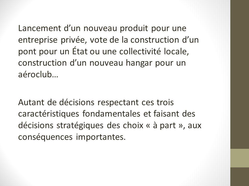 Lancement dun nouveau produit pour une entreprise privée, vote de la construction dun pont pour un État ou une collectivité locale, construction dun n