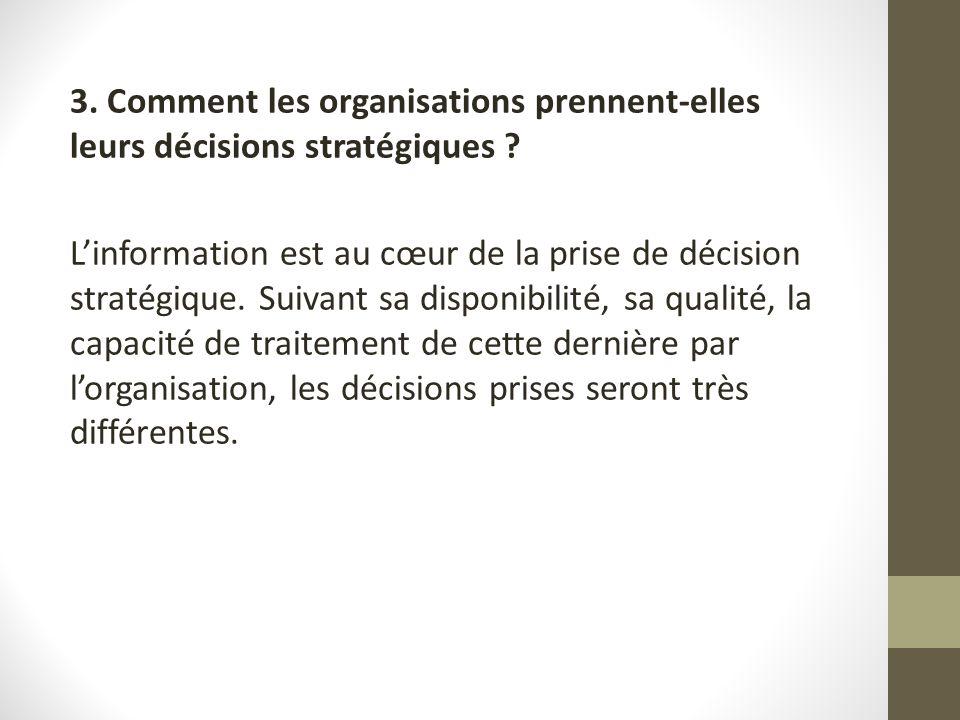 3. Comment les organisations prennent-elles leurs décisions stratégiques ? Linformation est au cœur de la prise de décision stratégique. Suivant sa di
