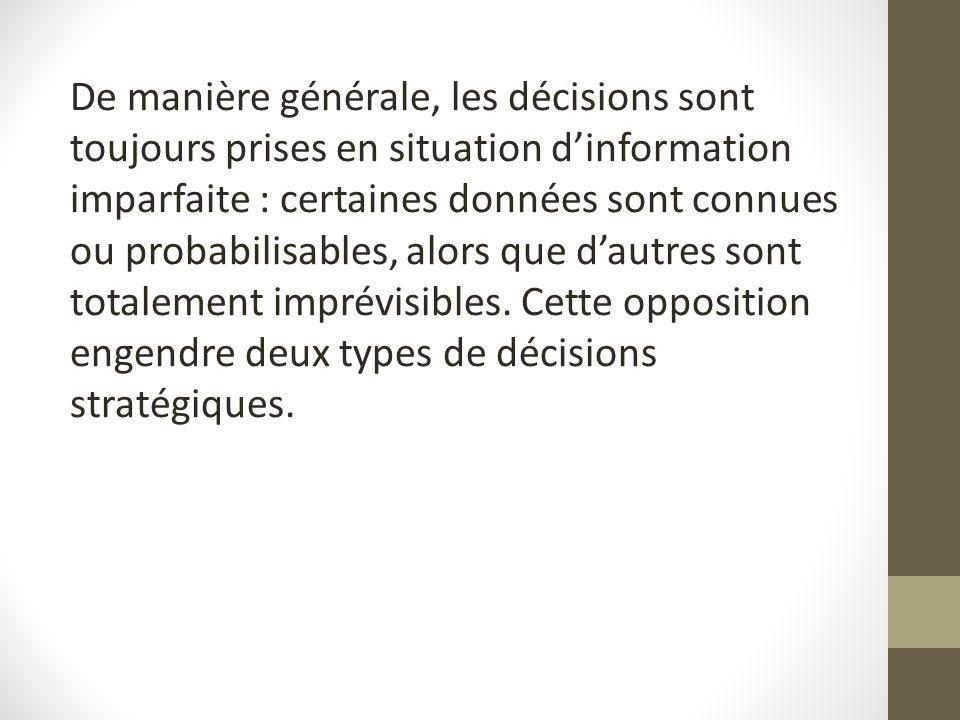De manière générale, les décisions sont toujours prises en situation dinformation imparfaite : certaines données sont connues ou probabilisables, alor