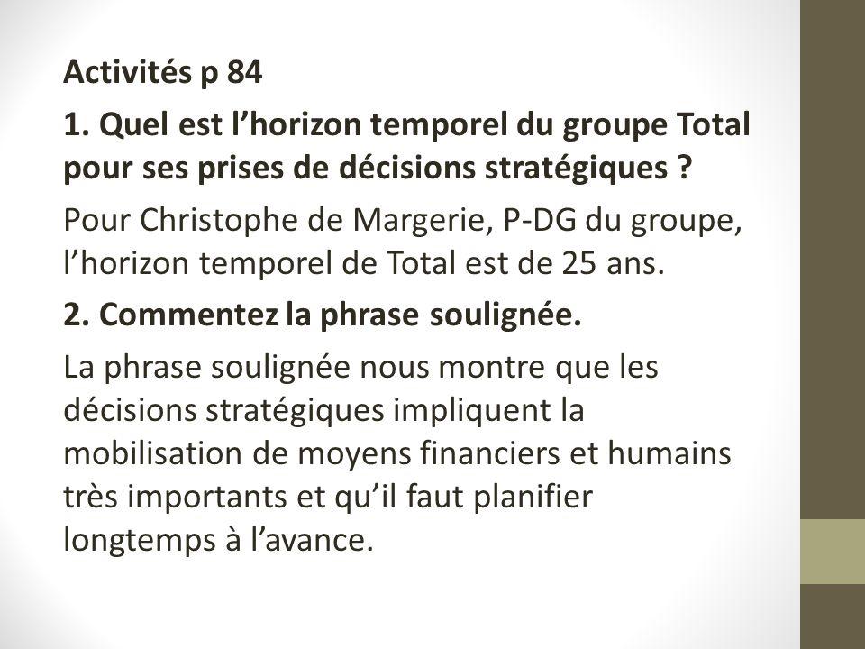 Activités p 84 1. Quel est lhorizon temporel du groupe Total pour ses prises de décisions stratégiques ? Pour Christophe de Margerie, P-DG du groupe,