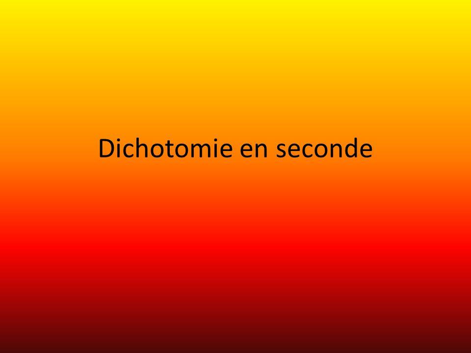 Dichotomie en seconde