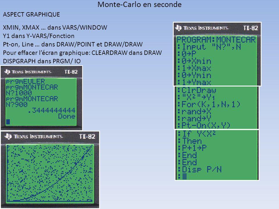 Monte-Carlo en seconde ASPECT GRAPHIQUE XMIN, XMAX … dans VARS/WINDOW Y1 dans Y-VARS/Fonction Pt-on, Line … dans DRAW/POINT et DRAW/DRAW Pour effacer
