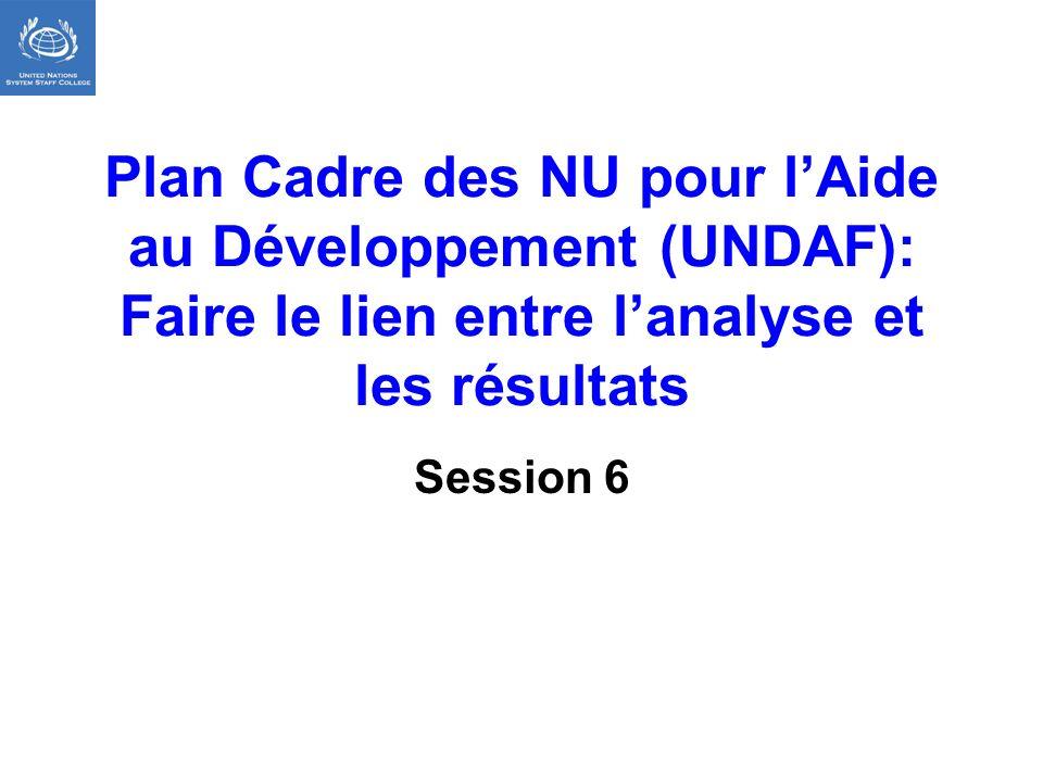 Plan Cadre des NU pour lAide au Développement (UNDAF): Faire le lien entre lanalyse et les résultats Session 6