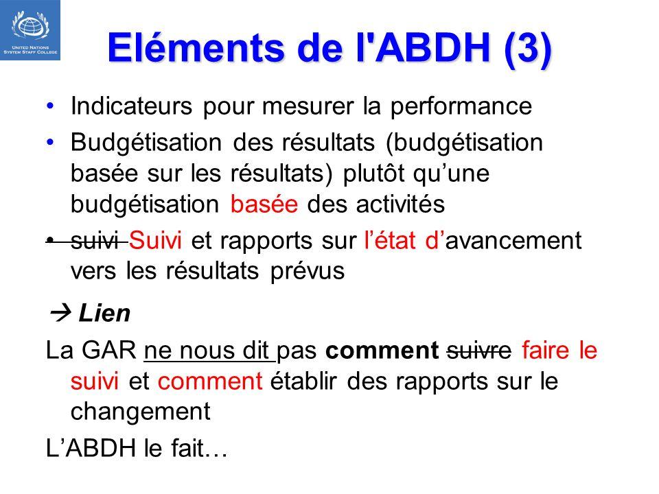 Eléments de l'ABDH (3) Indicateurs pour mesurer la performance Budgétisation des résultats (budgétisation basée sur les résultats) plutôt quune budgét
