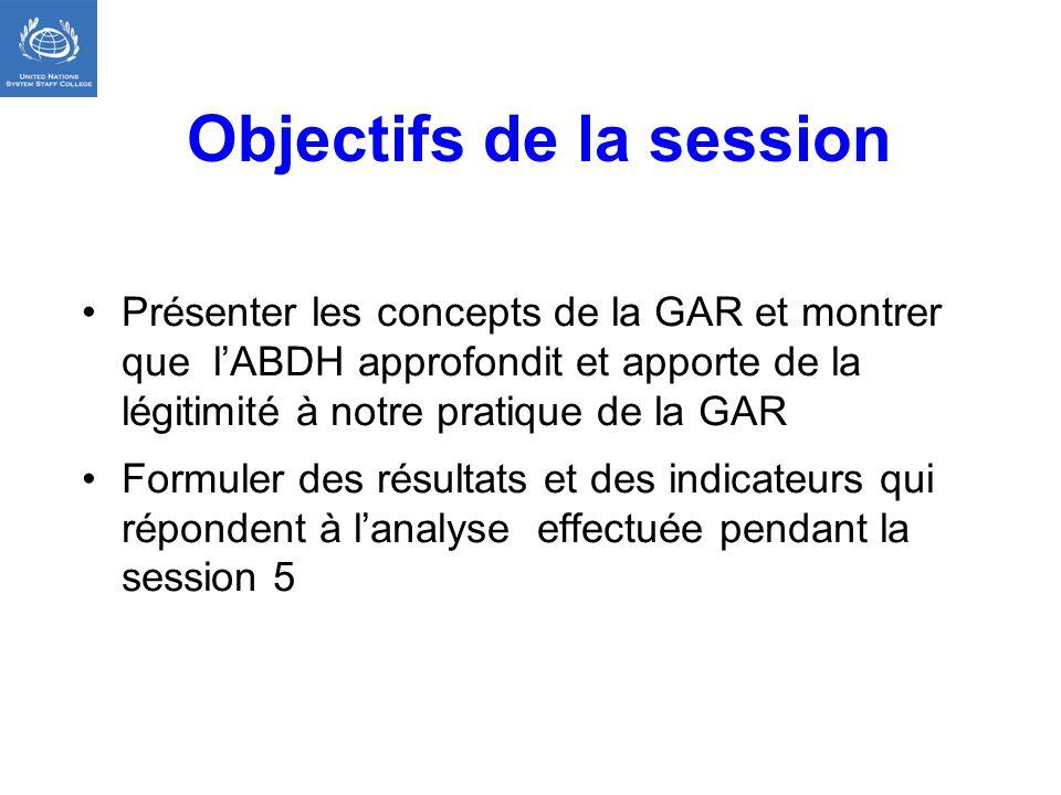Objectifs de la session Présenter les concepts de la GAR et montrer que lABDH approfondit et apporte de la légitimité à notre pratique de la GAR Formu