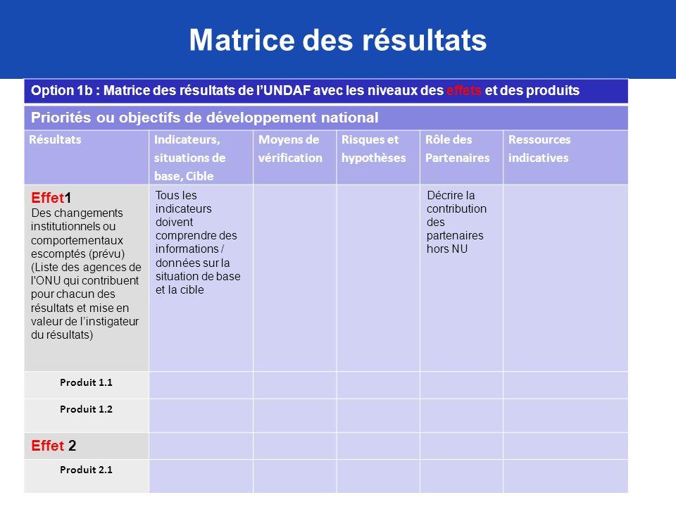 Matrice des résultats Option 1b : Matrice des résultats de lUNDAF avec les niveaux des effets et des produits Priorités ou objectifs de développement