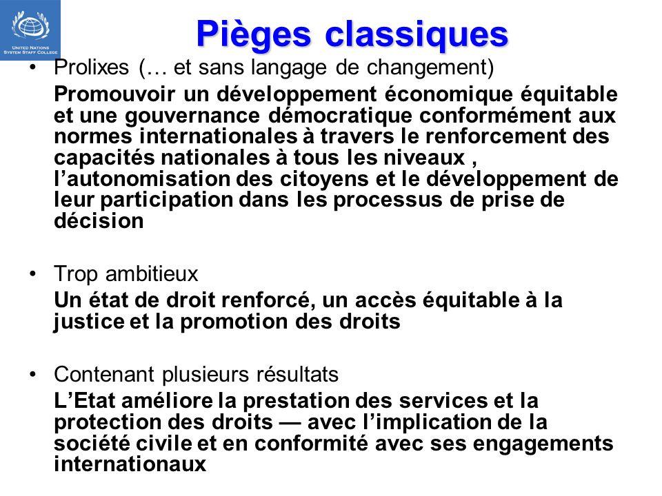 Pièges classiques Prolixes (… et sans langage de changement) Promouvoir un développement économique équitable et une gouvernance démocratique conformé