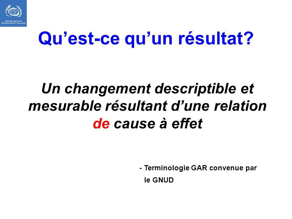 Quest-ce quun résultat? Un changement descriptible et mesurable résultant dune relation de cause à effet - Terminologie GAR convenue par le GNUD