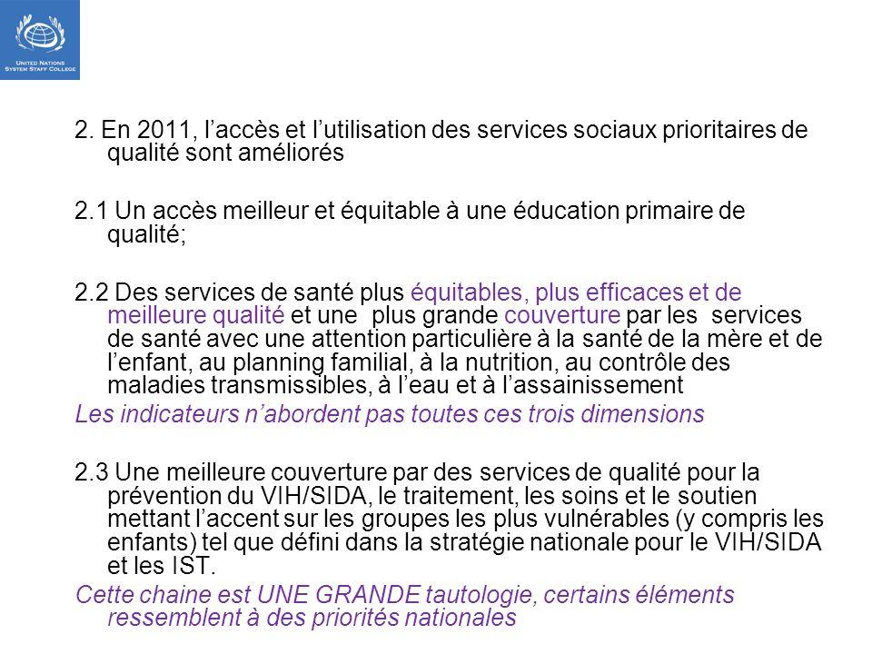 2. En 2011, laccès et lutilisation des services sociaux prioritaires de qualité sont améliorés 2.1 Un accès meilleur et équitable à une éducation prim