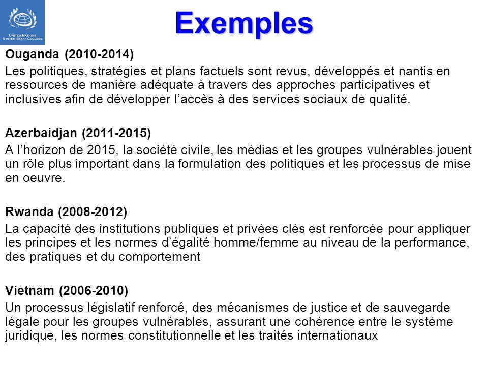 Exemples Ouganda (2010-2014) Les politiques, stratégies et plans factuels sont revus, développés et nantis en ressources de manière adéquate à travers