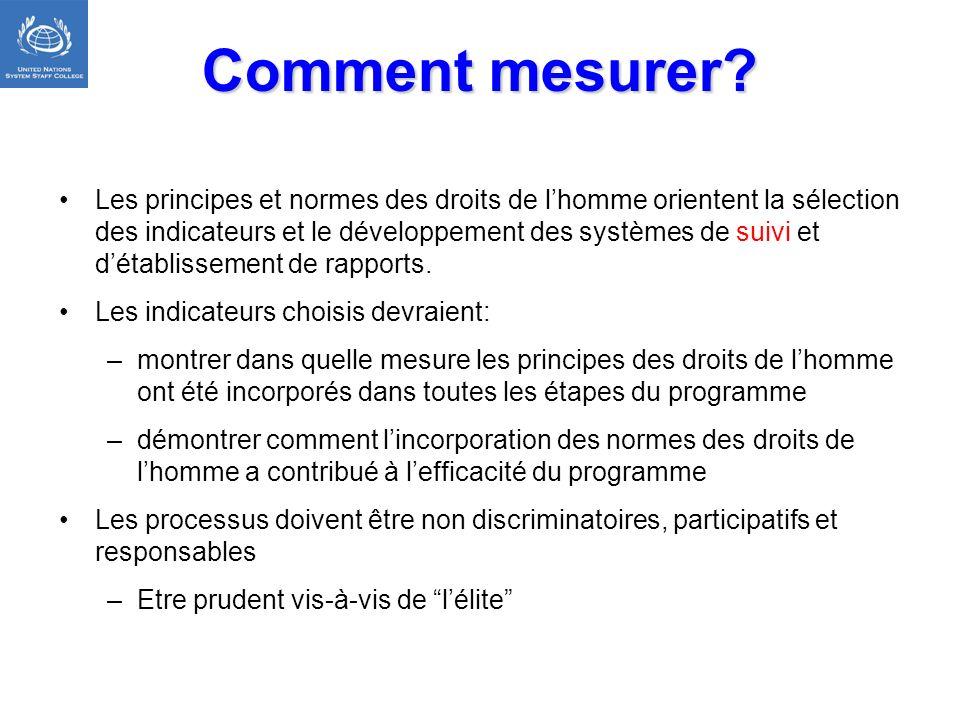 Comment mesurer? Les principes et normes des droits de lhomme orientent la sélection des indicateurs et le développement des systèmes de suivi et déta