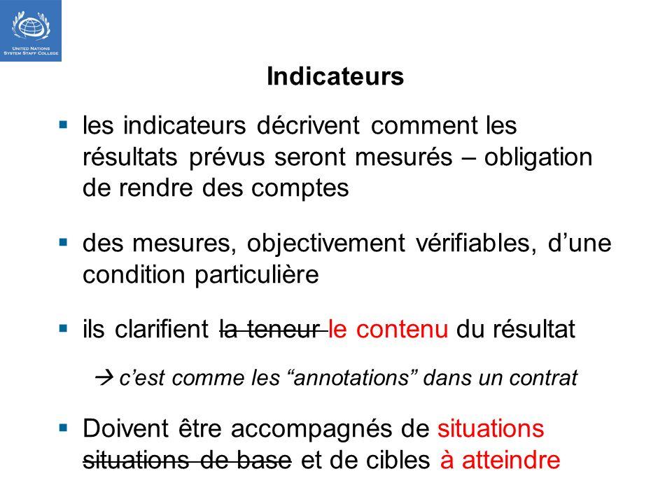 Indicateurs les indicateurs décrivent comment les résultats prévus seront mesurés – obligation de rendre des comptes des mesures, objectivement vérifi
