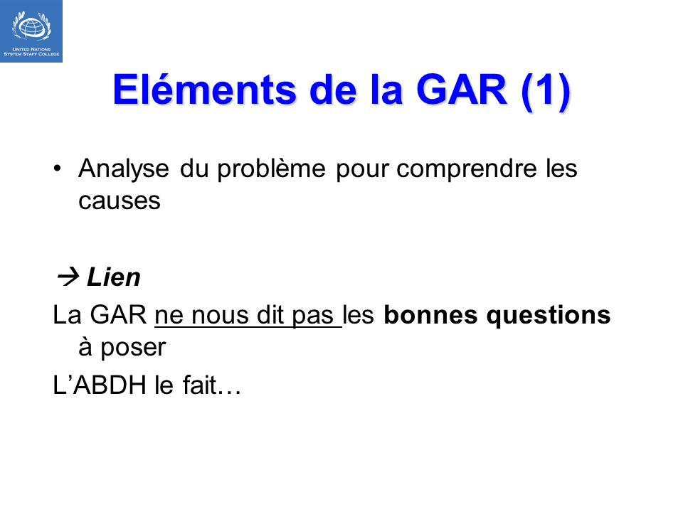 Eléments de la GAR (1) Analyse du problème pour comprendre les causes Lien La GAR ne nous dit pas les bonnes questions à poser LABDH le fait…